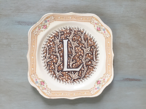 handpainted L Monogram