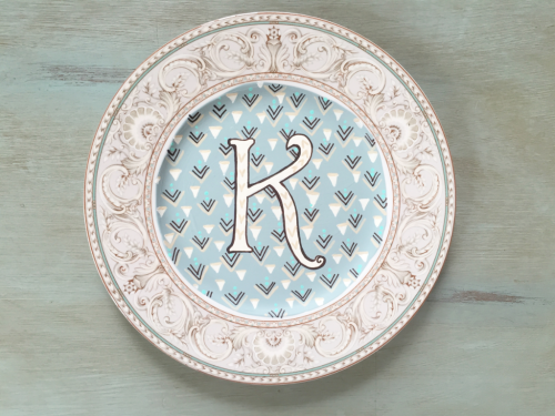 handpainted monogram K