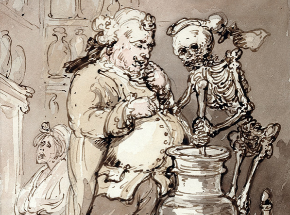 Death as an apothecary's assistant making up medicines. Watercolour by T. Rowlandson