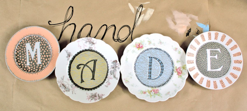 Hand made and handpainted monogram plates. © Julie Terwelp/SnapHappy Creative
