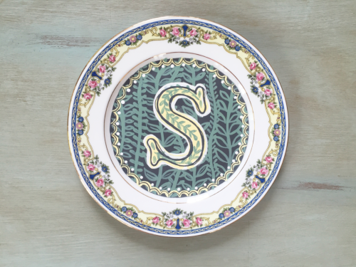 handpainted monogram S